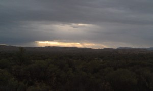 Rain falling over the distant ranges