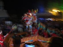 Sammy the Dragon at the Shinju Festival is huge, and has glowing eyes!