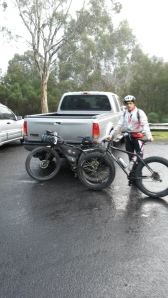 Meeting Simon at Corin Dam we compared bikes and wheels. His 5inch tyres were wider but much smaller overall then my 29+