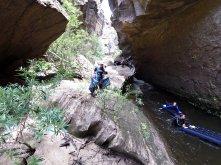 Navigating rapids and scrambling over the rocks