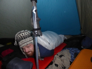 Mike half in the the tent...